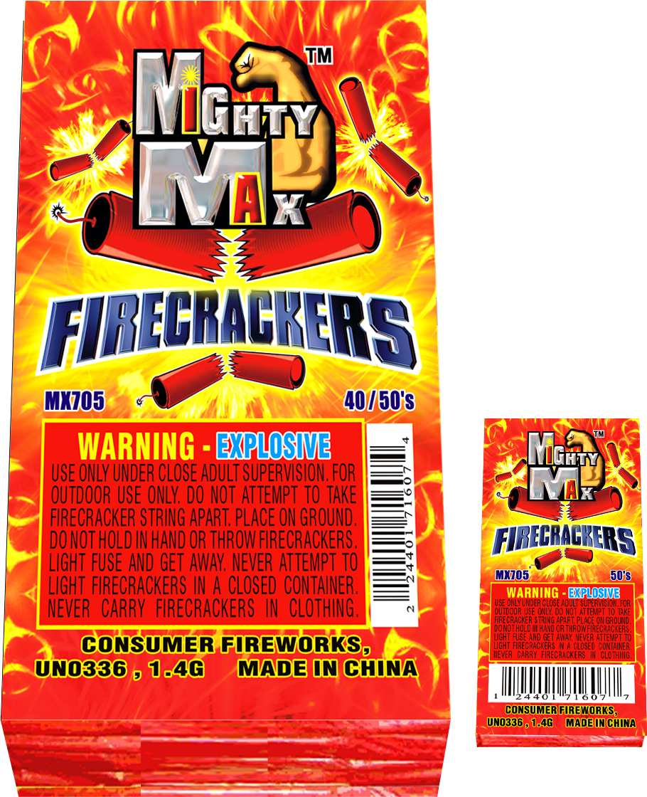 MX705 1-0.5 inch Mighty Max Firecrackers