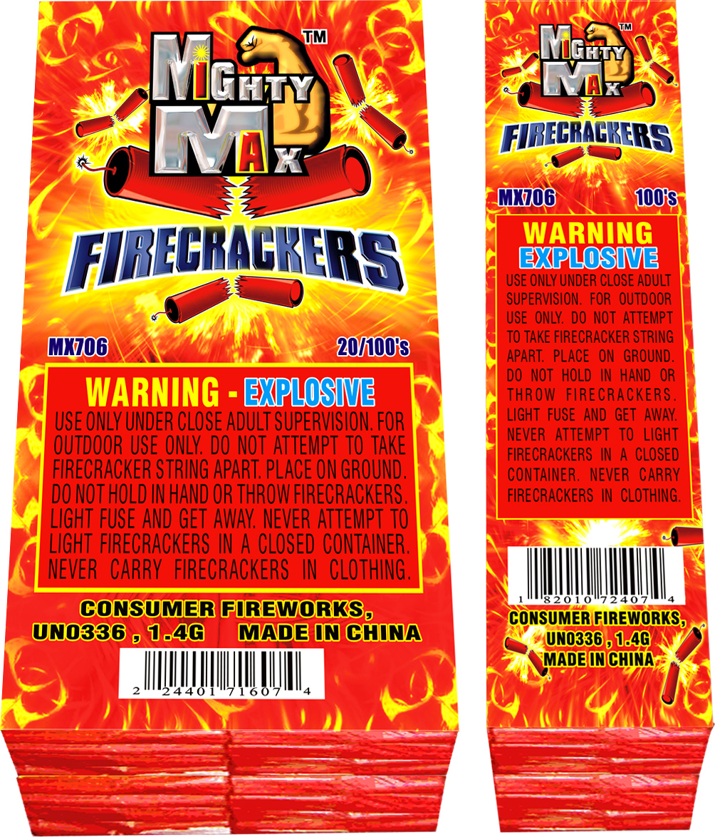 MX706 1-0.5 inch Mighty Max Firecrackers